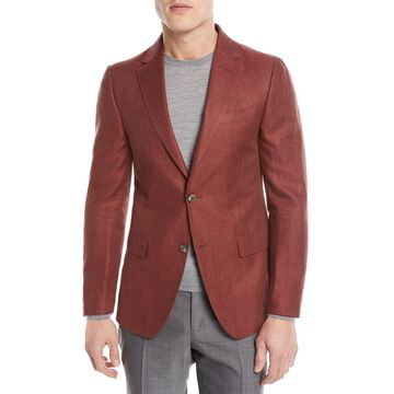 Linen/Cotton Herringbone Two-Button Jacket