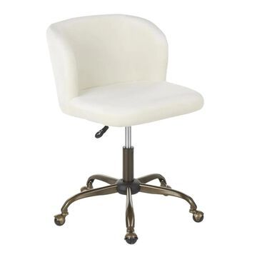 LumiSource Fran Antique Metal, Cream Velvet Contemporary Adjustable Height Swivel Task Chair in Off-White   OC-FRAN ANVCR