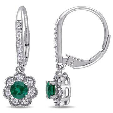 Laura Ashley 10k White Gold 1/5ct TDW Diamond and Created Emerald Leverback Earrings (G-H, I2-I3) - Green