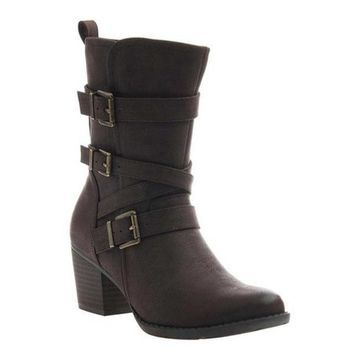 Madeline Women's Trill Moto Boot Dark Brown Synthetic