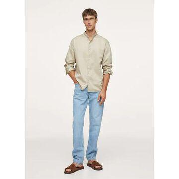 MANGO MAN - Relaxed cotton shirt with mandarin collar beige - S - Men