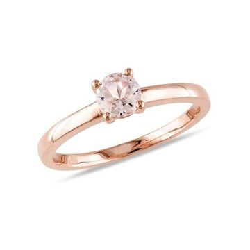 1/2 Carat T.G.W. Morganite 10kt Rose Gold Solitaire Ring