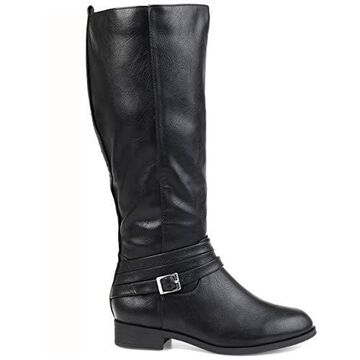 Brinley Co. Comfort Womens Strap Riding Boot Black