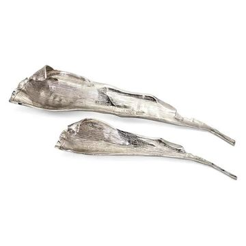 Imax Aluminium Set Of 2 Tray With Silver Finish 14712-2
