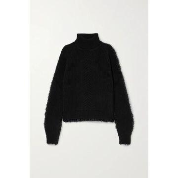 Maison Margiela - Paneled Ribbed Wool And Tinsel Turtleneck Sweater - Black