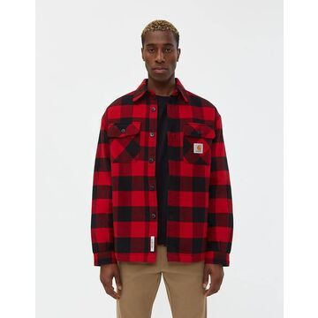 Merton Flannel Shirt Jacket in Cardinal Check