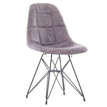 Porthos Home Mid-century Modern Faux Leather Upholstered Dining with Unique Eames Style Eiffel Metal Legs, Easy Assembly