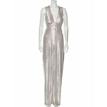 Foiled Knit Fitted Long Long Dress Metallic