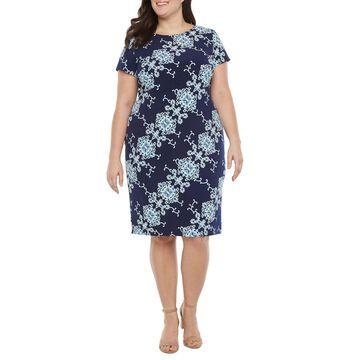 Ronni Nicole-Plus Short Sleeve Scroll Midi Sheath Dress