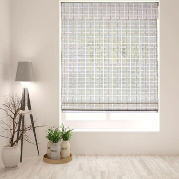Arlo Blinds Cordless Lift Whitewash Bamboo Roman Shade with 60 Inch Height (28.5