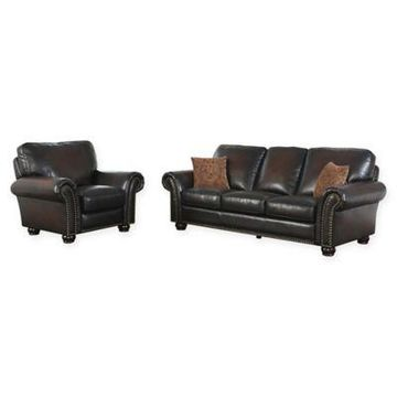 Abbyson Living Violetta 2-Piece Leather Sofa and Recliner Set in Brown