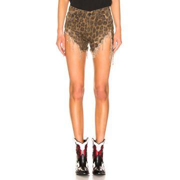 R13 Shredded Slouch Short in Leopard | FWRD