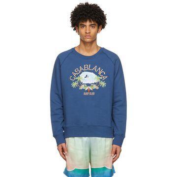 Casablanca Navy Embroidered 'Surf Club' Sweatshirt