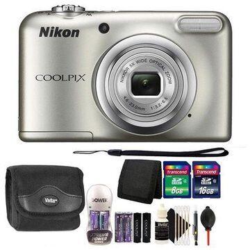 Nikon COOLPIX A10 16.1MP Compact Digital Camera (Silver) + 24GB Accessory Kit