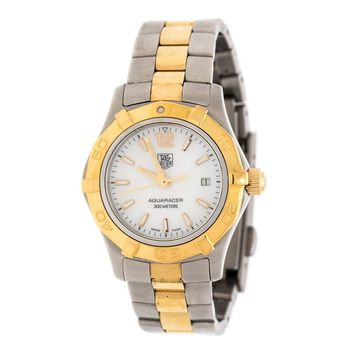 Tag Heuer Mother of Pearl Two-Tone Stainless Aquaracer WAF1424 Women's Wristwatch 27 mm