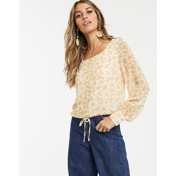 Y.A.S square neck top in floral print