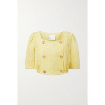 Lisa Marie Fernandez - Diana Cropped Linen-blend Gauze Top - Yellow