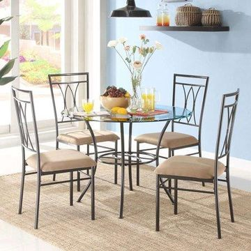 Mainstays 5-Piece Glass and Metal Dining Set