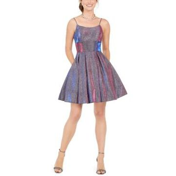 Betsy & Adam Glitter Fit & Flare Dress