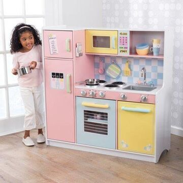 KidKraft Wooden Large Pastel Kitchen with 4 Piece Accessory Play Set