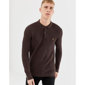 Farah Pawsom long sleeve knitted polo in brown
