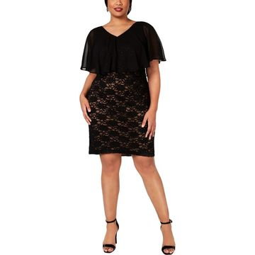 Connected Apparel Womens Plus Lace Chiffon I Cocktail Dress