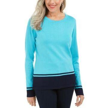 Karen Scott Colorblocked-Hem Sweater, Created For Macy's