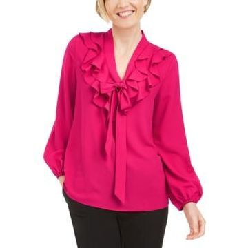 Kasper Ruffled Tie-Neck Blouse