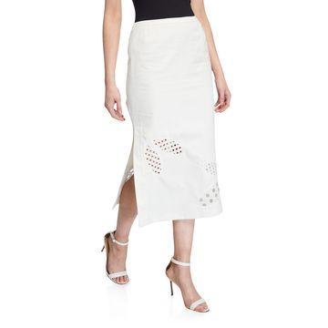 Leaf Eyelet Midi Skirt