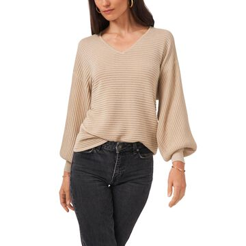 1.state Lurex V-Neck Bubble Sleeve Sweater