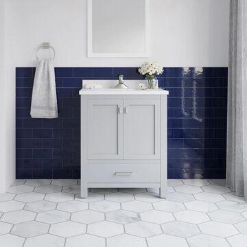 allen + roth Ronald 30-in Dove Gray Undermount Single Sink Bathroom Vanity with White Engineered Stone Top   RONALD-30DG
