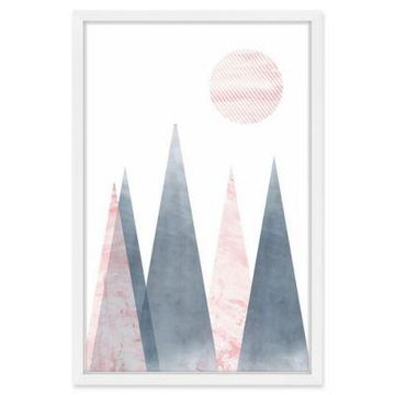 Marmont Hill Striped Moon 20-Inch x 30-Inch Framed Wall Art
