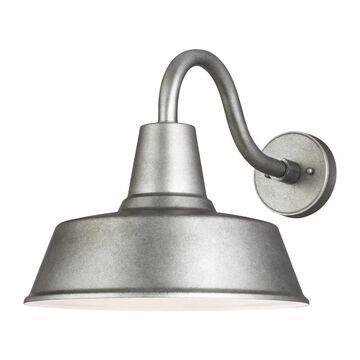 Sea Gull Lighting Barn Light Large 1-Light Weathered Pewter Outdoor Wall Mount Lantern | 8737401-57