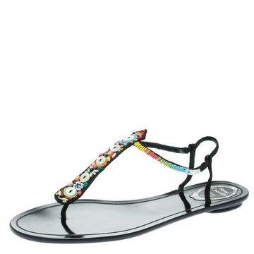 Rene Caovilla Black Satin Beads Embellished Flat Thong Sandals Size 41