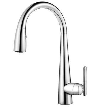 Pfister Lita Polished Chrome 1-Handle Deck-Mount Pull-Down Handle Kitchen Faucet   GT529-FLC