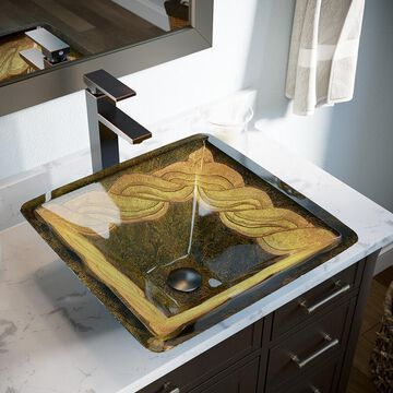 MR Direct Gold, Green Tempered Glass Vessel Square Bathroom Sink with Faucet (Drain Included) (16.75-in x 16.75-in) | 638-721-ABR