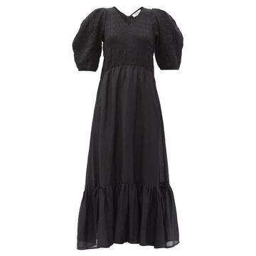 Sea - Eleanor Shirred Linen-blend Voile Maxi Dress - Womens - Black