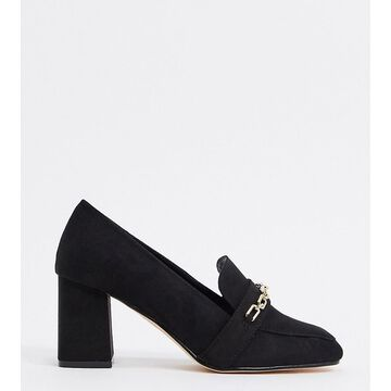 London Rebel Wide Fit chain heeled loafers in black