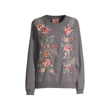 Johnny Was Caspian Raglan Embroidered Sweatshirt