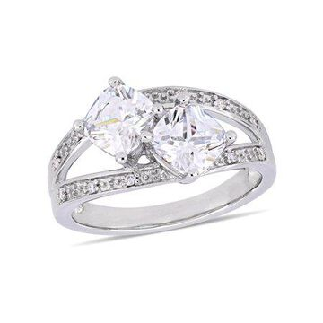Miabella 3-1/5 Carat T.G.W. Cubic Zirconia and Diamond-Accent Sterling Silver Engagement Ring
