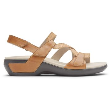 Aravon Womens Power Comfort S-Strap Sandal - Size 5 D Tan