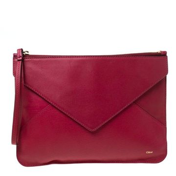 Chloe Magenta Leather Envelope Clutch