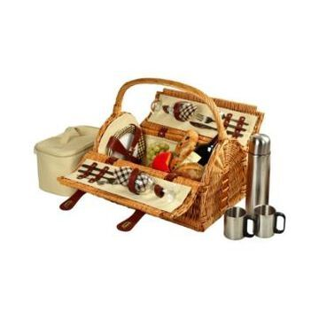 Picnic at Ascot Sussex Willow Picnic Basket with Service for 2 with Coffee Set