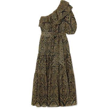 Lisa Marie Fernandez - Arden One-shoulder Ruffled Metallic Cotton Broderie Anglaise Maxi Dress - Black
