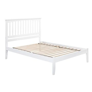 Mission Queen Platform Bed with Open Foot Board in White