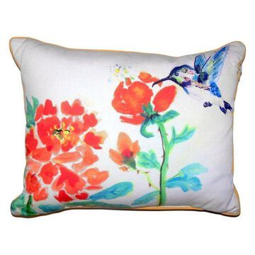 Hummingbird and Red Flower Large Indoor/Outdoor Pillow, 16