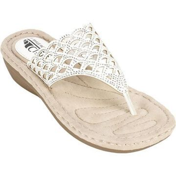 Cliffs by White Mountain Women's Cameo Thong Sandal White Smooth Synthetic