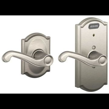 Schlage FE10-FLA-CAM Camelot Passage Door Lever Set with Flair Lever and Built-In Alarm Satin Nickel Leverset Passage