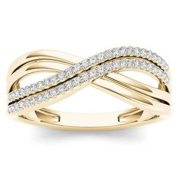 De Couer IGI Certified 10k Yellow Gold 1/6ct TDW Diamond Fashion Ring (6)