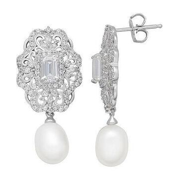 Certified Sofia Bridal Cultured Freshwater Pearl & Swarovski Cubic Zirconia Sterling Silver Earrings No Color Family